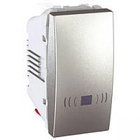 """SСHNEIDER ELECTRIC UNICA Выключатель кнопочный одноклавишный с символом """"Звонок"""" 1 модуль 10А Алюминий"""