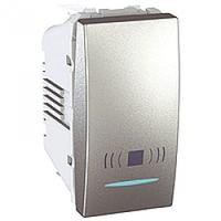 """SСHNEIDER ELECTRIC UNICA Выключатель кнопочный одноклавишный с индикационной подсветкой и символом """"Звонок"""" 1 модуль 10А Алюминий"""