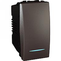 SСHNEIDER ELECTRIC UNICA Выключатель одноклавишный с индикационной подсветкой 1 модуль 10А Графит