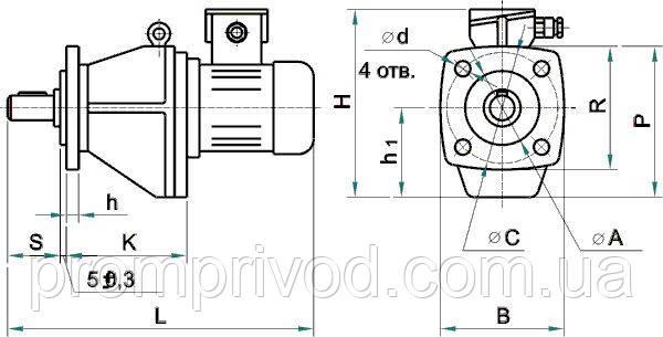 Габаритные и присоединительные размеры мотор-редуктора МЦ2С на фланце