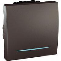 SСHNEIDER ELECTRIC UNICA Выключатель кнопочный одноклавишный с индикационной подсветкой 2 модуля 10А Графит