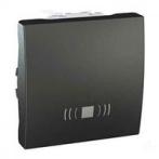 """SСHNEIDER ELECTRIC UNICA Выключатель кнопочный одноклавишный с символом """"звонок"""" 2 модуля 10А Графит"""