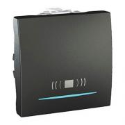 """SСHNEIDER ELECTRIC UNICA Выключатель кнопочный одноклавишный с индикационной подсветкой и символом """"звонок"""" 2 модуля 10А Графит"""