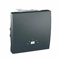 """SСHNEIDER ELECTRIC UNICA Выключатель кнопочный одноклавишный с символом """"свет"""" 2 модуля 10А Графит"""