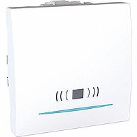 """SСHNEIDER ELECTRIC UNICA Выключатель кнопочный одноклавишный с индикационной подсветкой и символом """"звонок"""" 2 модуля 10А Белый"""