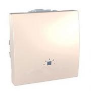 """SСHNEIDER ELECTRIC UNICA Выключатель кнопочный одноклавишный с символом """"свет"""" 2 модуля 10А Слоновая кость"""