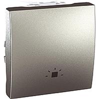 """SСHNEIDER ELECTRIC UNICA Выключатель кнопочный одноклавишный с символом """"свет"""" 2 модуля 10А Алюминий"""