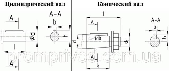 Размеры цилиндрического и конического валов мотор редуктора МЦ2С