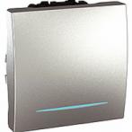 SСHNEIDER ELECTRIC UNICA Выключатель проходной одноклавишный с индикационной подсветкой 2 модуля 16А Алюминий