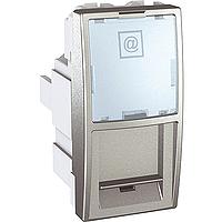 SСHNEIDER ELECTRIC UNICA Розетка компьютерная с полем для надписи неэкр.UTP кат. 5е 1 модуль Алюминий