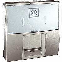SСHNEIDER ELECTRIC UNICA Розетка компьютерная с полем для надписи неэкр.UTP кат. 5е 2 модуля Алюминий