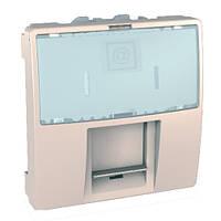 SСHNEIDER ELECTRIC UNICA Розетка компьютерная с полем для надписи экр.STP кат. 6 2 модуля Слоновая кость