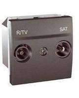 SСHNEIDER ELECTRIC UNICA Розетка TV/R/SAT конечная 2 модуля Графит