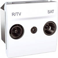 SСHNEIDER ELECTRIC UNICA Розетка TV/R/SAT конечная 2 модуля Белая