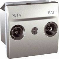 SСHNEIDER ELECTRIC UNICA Розетка TV/R/SAT конечная 2 модуля Алюминий