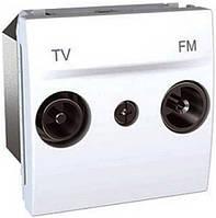 SСHNEIDER ELECTRIC UNICA Розетка TV/R конечная малое затухание 2 модуля Белый