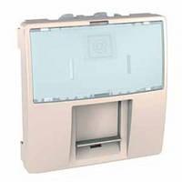 SСHNEIDER ELECTRIC UNICA Розетка телефонная с полем для надписи RJ12 6 контактов 2 модуля Слоновая кость