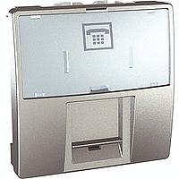 SСHNEIDER ELECTRIC UNICA Розетка телефонная с полем для надписи RJ12 6 контактов 2 модуля Алюминий