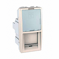 SСHNEIDER ELECTRIC UNICA Розетка телефонная с полем для надписи RJ12 6 контактов 1 модуль Слоновая кость