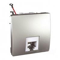 SСHNEIDER ELECTRIC UNICA Розетка телефонная RJ12 6 контактов 2 модуля Алюминий