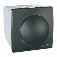SСHNEIDER ELECTRIC UNICA Светорегулятор поворотно-нажимной с ферромагнитным трансформатором,выключатель проходной 400Вт Графит