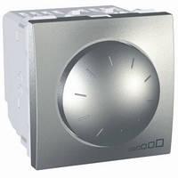 SСHNEIDER ELECTRIC UNICA Светорегулятор поворотно-нажимной с ферромагнитным трансформатором,выключатель проходной 400Вт Алюминий
