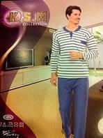 Пижама мужская теплая в полоску синяя XL Турция K.S.M