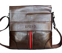 Мужская молодёжная сумка коричневая с полосой Е 54147