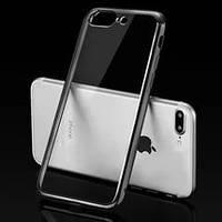 Силиконовый чехол Utty Electroplating TPU на Iphone 5/5S/SE серебряный