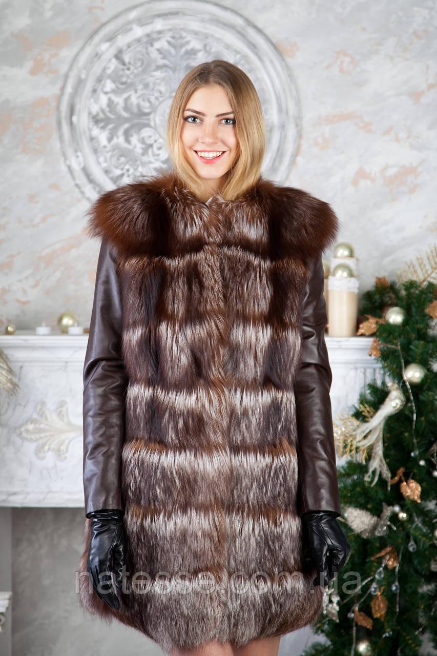Шубу з чорнобурки з шкіряними рукавами silver fox fur coat jacket vest gilet
