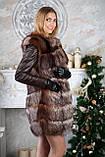 Шубу з чорнобурки з шкіряними рукавами silver fox fur coat jacket vest gilet, фото 2