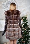 Шубу з чорнобурки з шкіряними рукавами silver fox fur coat jacket vest gilet, фото 3