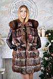 Шубу з чорнобурки з шкіряними рукавами silver fox fur coat jacket vest gilet, фото 4