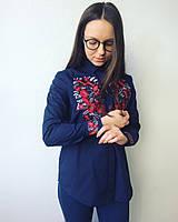 Жіноча сорочка Цвіт темно-синя