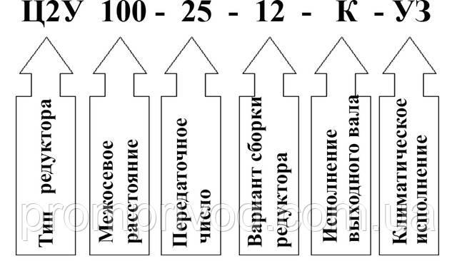 Пример условного обозначения редуктора 1Ц2У-100