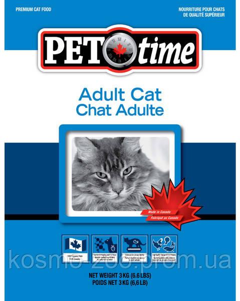 Корм для взрослых котов Пет Тайм (Pet Time Adult cat food, Канада) с курицей, рыбой и таурином , 7 кг
