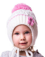 Шапка детская на флисе Цветок молоко