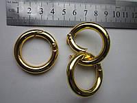Кольцо - карабин 25 х 6 мм золото