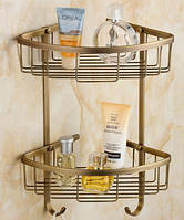 Полочка угловая для ванной комнаты двухярусная настенная подвесная бронза