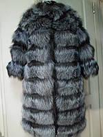 Полушубок из чернобурки поперечка длина 90 с 3/4 рукав съемный и низ трансформер 44р 46р 48р