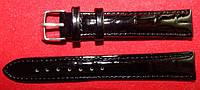 Ремешок кожаный Modeno для часов. Черный, лак. 20 мм.