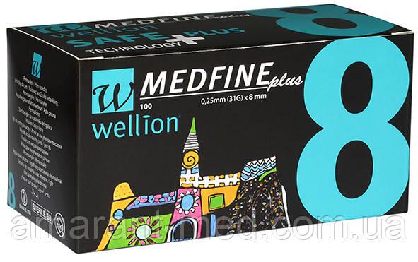 Универсальные иглы Wellion MEDFINE plus для инсулиновых шприц-ручек 8мм (31G x 0,25 мм)