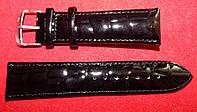 Ремешок кожаный Modeno для часов. Черный, лак. 24 мм.