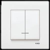 Выключатель двойной с подсветкой белый Viko (Вико) Karre (90960050)