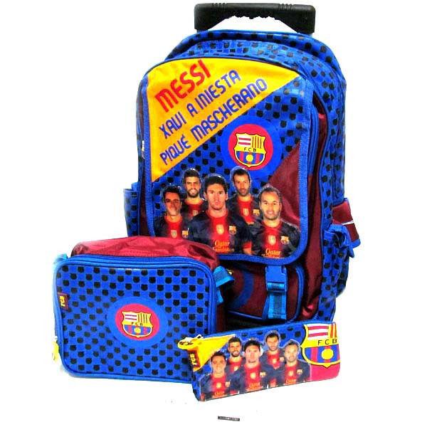 Чемодан-рюкзак детский на колесах + сумка + пенал Барселона, съемный 13511T-3