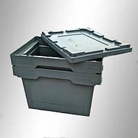 Пластиковый складской ящик 400х300х250 мм (серый с крышкой)