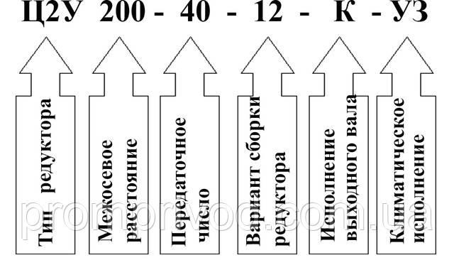 Пример условного обозначения редуктора 1Ц2У-200