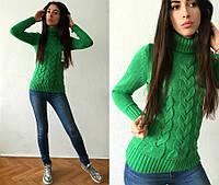 Стильный красивый женский вязаный свитер теплый с горлом L10032