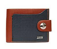Чоловічий компактний гаманець коричнево-синій (54221)