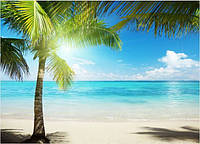 Кафель панно Пальма на пляже, плитка 20х30см.
